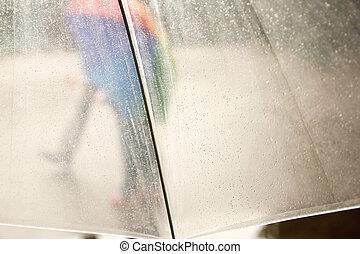 beau, petite fille, pluie