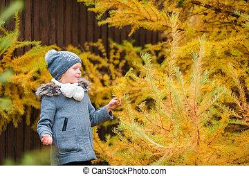 beau, peu, automne, dehors, girl, adorable, jour