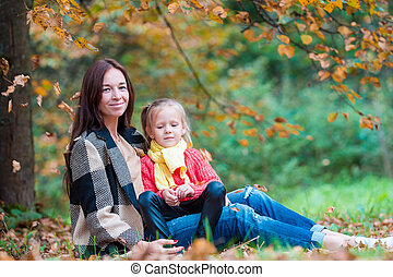 beau, peu, automne, maman, girl, jour, heureux