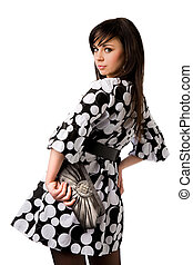 beau, peu, brunette, bourse, noir, tenue, robe blanche