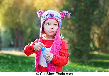 beau, peu, casquette, parc, tricoté, promenades, girl