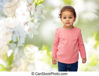 beau, peu, cerise, sur, fleurs, dorlotez fille