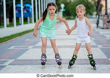 beau, peu, deux, patins, soeurs, rouleau