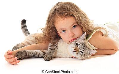 beau, peu, elle, étreindre, cat., girl