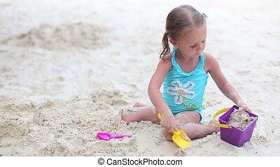 beau, peu, exotique, girl, plage, jouer