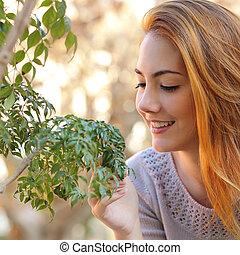 beau, peu, femme, prendre, arbre, soin
