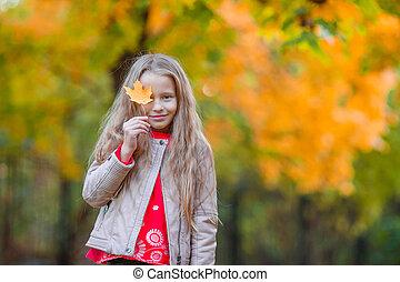 beau, peu, feuille, dehors, parc, jaune, automne, surprenant, chaud, automne, girl, jour