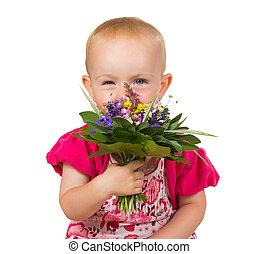 beau, peu, fleurs, girl, posy