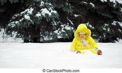 beau, peu, hiver, neige, temps, dehors, girl, adorable, jour