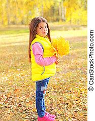 beau, peu, jaune, automne, pousse feuilles, enfant, portrait, girl, jour, érable