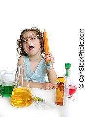 beau, peu, laboratoire, girl, chimie, jouer