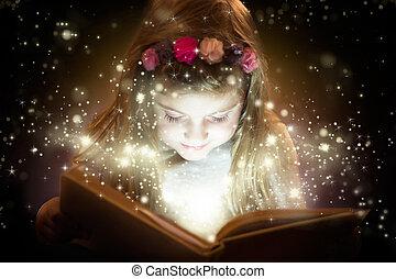 beau, peu, magie, livre, lecture fille