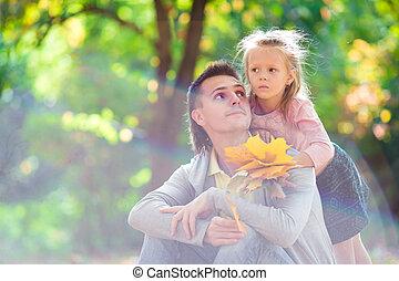 beau, peu, père, avoir, automne, amusement, girl, jour