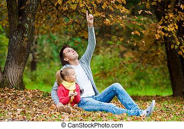 beau, peu, père, parc, automne, dehors, girl, adorable