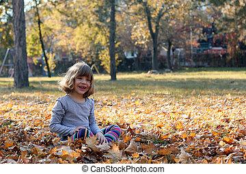beau, peu, parc, automne, girl, heureux