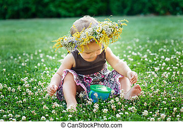 beau, peu, pré, nature, couronne, dorlotez fille, heureux