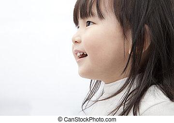 beau, peu, regarder, asiatique, fille souriante