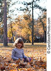beau, peu, séance, feuilles, automne, girl