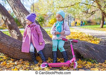 beau, peu, scooter, parc, automne, girl