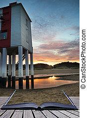 beau, phare, échasse, levers de soleil, conceptuel, plage, paysage