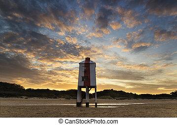 beau, phare, échasse, paysage, plage, levers de soleil