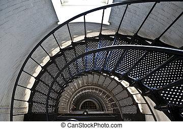 beau, phare, iros, escalier