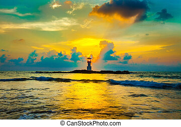 beau, phare, plage., mer, coucher soleil, au-dessus, rocher