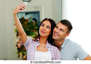 beau, photo, couple, jeune, smarphone, portrait, confection, selfie
