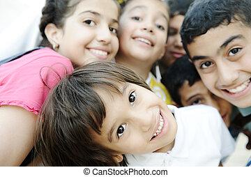 beau, photo, enfants, groupe, heureux