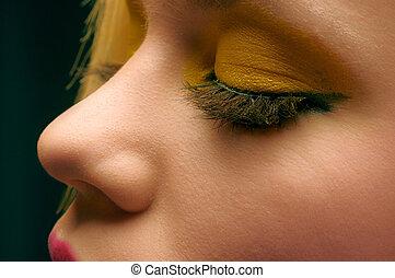 beau, photo, maquillage, jaune, closeup, girl