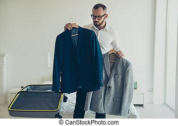 beau, photo, propre, séduisant, porter, blanc, s, chemise, grand plan