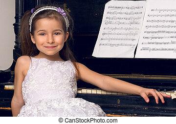 beau, piano, assied, robe, girl