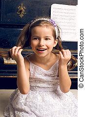 beau, piano, robe, girl, heureux
