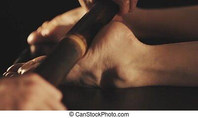 beau, pieds, femme, masage, délassant