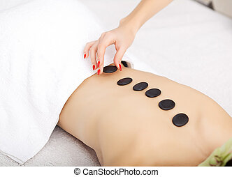 beau, pierre, femme, spa., traitements beauté, chaud, spa, masage
