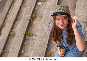 beau, pierre, séance, jeune, park., étapes, girl