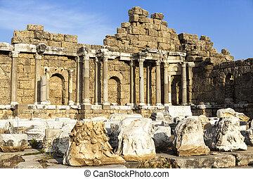 beau, pierres, vieux, byzantin, ville, été, ornament., ensoleillé, maison, colonnes, day., murs, détruit, ruines