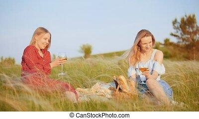 beau, pique-nique, -, deux, champ, boire, femmes, avoir, vin