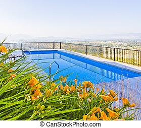 beau, piscine, installation