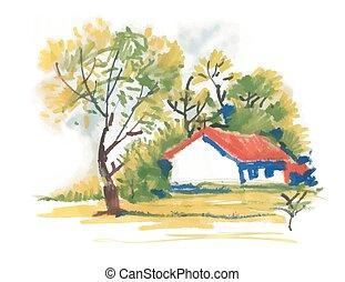beau, pittoresque, maison, arbres, aquarelle, vert, village, painting.