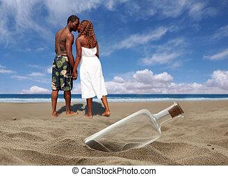 beau, plage, bouché, bouteille