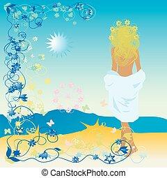 beau, plage, cadre, femme, floral