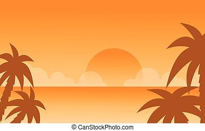 beau, plage, coucher soleil