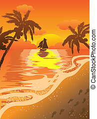 beau, plage coucher soleil