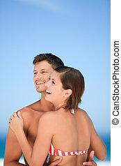 beau, plage, couple