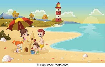 beau, plage., dessin animé, famille