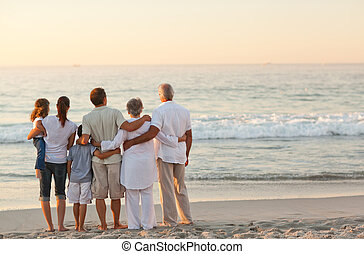 beau, plage, famille
