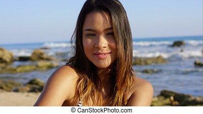 beau, plage, femme, brunette, jeune