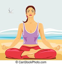 beau, plage, femme méditer