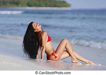 beau, plage, femme
